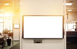 LCD Blank billboard for copy space in your text message or promo. Tional content, public information board on airport, advertising mock up empty in metropolitan Royalty Free Stock Photos