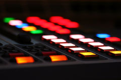 LCD buttons on mix console Stock Photo