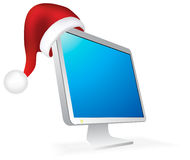 Lcd Christmas Hat Monitor Royalty Free Stock Photo
