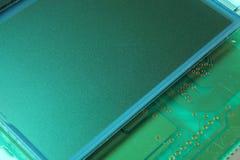 Lcd closeup. Closeup of green LCD screen electronic part stock photo