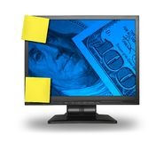 LCD com fundo do dinheiro Imagens de Stock