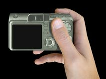 LCD of compact camera in hand Royalty Free Stock Photos