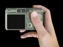 LCD der kompakten Kamera in der Hand Lizenzfreie Stockfotos