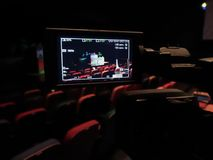 The LCD display on the camcorder. Shooting theatrical performances. The TV camera.  Stock Images