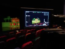 The LCD display on the camcorder. Shooting theatrical performances. The TV camera.  Stock Image