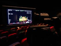 The LCD display on the camcorder. Shooting theatrical performances. The TV camera.  Royalty Free Stock Photo