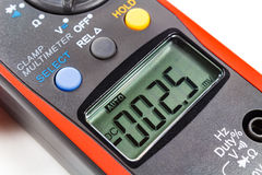 LCD display of digital clamp multimeter closeup Stock Photos