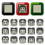 LCD display pixel faces Stock Photos