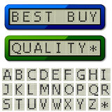 LCD display pixel font - uppercase characters Royalty Free Stock Photo