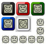 LCD display pixel smiley faces Royalty Free Stock Photo