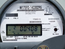 LCD display of smart grid power supply meter Stock Photo