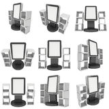 LCD display stand and display boxes vector illustration