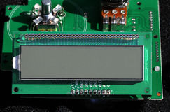 LCD display unit. Electronic LCD display unit on circuit board Stock Photo