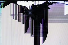 LCD ekran tv setis łamający strzałami od traumati fotografia royalty free