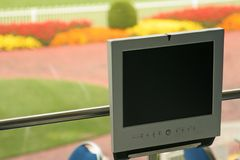 LCD event setting, landscape. Lcd monitor in a sports venue Stock Photography