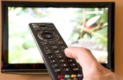 Lcd-Fernsehapparat Fernsteuerungs Stockfotografie