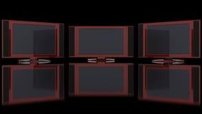 Lcd-Fernsehapparat gegen Schwarzes Stockfotografie