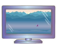 Lcd-Fernsehmonitor mit Berglandschaft auf Schirm lizenzfreie abbildung