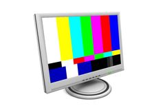 LCD Flatscreen Monitor with Test Pattern. Flat screen lcd computer monitor with a SMTPE test pattern and green status led - angular view Stock Photos