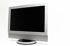 LCD flatscreen TV op wit wordt geïsoleerd dat Stock Foto