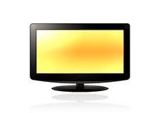 LCD HD TV (yellow). LCD / Plasma TV on a white background Royalty Free Stock Photography