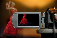 LCD het vertoningsscherm op een Hoge camera van Definitietv, flamenco het dansen Royalty-vrije Stock Fotografie