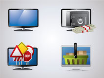 Lcd icon set Stock Image