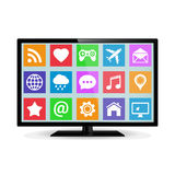 LCD moderno TV elegante con los iconos del uso Imagen de archivo libre de regalías