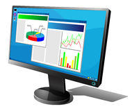 LCD monitor. Black LCD monitor with graphs on the screen isolated on white background stock illustration