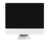 LCD monitor. Front view of LCD monitor with blank black screen. Isolated on white background Stock Photography