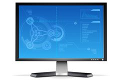 LCD Monitor. A  illustration of a monitor with fancy engineering background Stock Photography