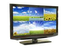 Lcd monitor. Frontal view of widescreen lcd monitor isolated on white Stock Image