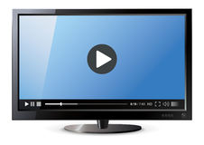 Lcd monitor. Frontal view of widescreen lcd monitor. Video player. Vector illustration Stock Photo
