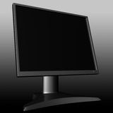 LCD monitor. Black LCD multimedia computer monitor vector illustration