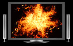 Lcd monitor. A image of a lcd screen with fire showing on the screen Stock Image