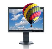 LCD Monitor And Hot Air Balloo Stock Image