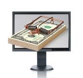 LCD Monitor And Money Trap Royalty Free Stock Image