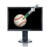 LCD Monitor and Baseball with Royalty Free Stock Photos