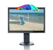 LCD Monitor and Beach. Isolated over a white background Stock Photo