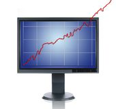LCD Monitor and Chart. Metaphor isolated over a white background Stock Images