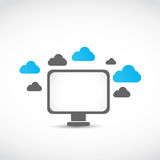 Lcd monitor cloud computing concept Royalty Free Stock Image