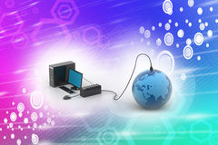 LCD monitor connected to Earth Royalty Free Stock Image