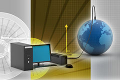 LCD monitor connected to Earth Royalty Free Stock Photo