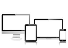 LCD monitor of desktop computer, tablet PC, laptop PC and smart phone. All generations of personal devices (LCD monitor of desktop computer, tablet PC, laptop PC royalty free illustration