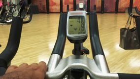 LCD monitor display on spinning bike stock footage