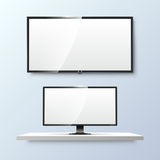Lcd monitor and empty white flat TV screen. Vector Stock Photography