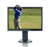 LCD Monitor en Golfspeler Royalty-vrije Stock Foto