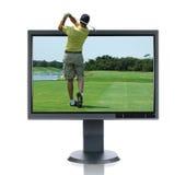 LCD Monitor en Golfspeler Stock Fotografie