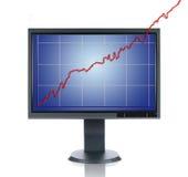 LCD Monitor en Grafiek Stock Afbeeldingen