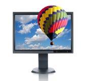 LCD Monitor en Hete Lucht Balloo Stock Afbeelding